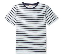 Héritage Striped Cotton And Linen-blend T-shirt - Navy
