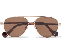 Aviator-style Gold-tone And Tortoiseshell Acetate Sunglasses