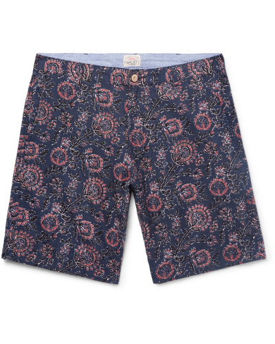 Slim-fit Indigo-dyed Printed Linen And Cotton-blend Shorts