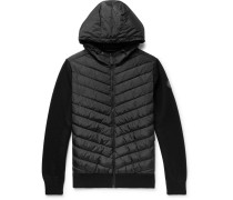 Hybridge Merino Wool And Quilted Shell Down Jacket Zip-up Hoodie - Black