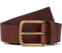 3cm Brown Textured-leather Belt