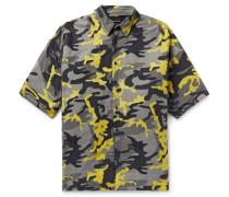 Oversized Camouflage-print Brushed Cotton-twill Shirt - Gray