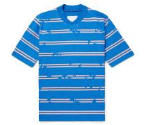 Paint-splattered Striped Cotton T-shirt