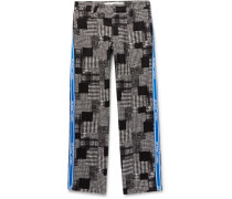 Webbing-trimmed Checked Cotton-blend Trousers