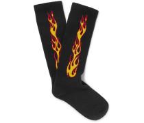 Flames Stretch Cotton-blend Socks