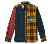 Button-Down Collar Patchwork Checked Cotton-Flannel Shirt