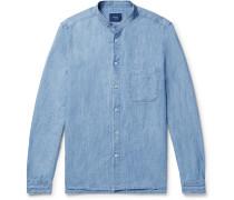 Grandad-collar Slub Cotton And Linen-blend Chambray Shirt