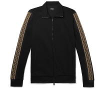 Slim-fit Webbing-trimmed Cotton-blend Track Jacket