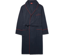 Piped Cotton And Cashmere-blend Robe - Navy