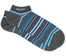 Striped Mercerised Stretch-cotton Blend Socks
