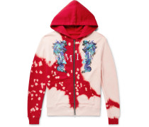 Logo-embroidered Printed Loopback Cotton-jersey Zip-up Hoodie - Red
