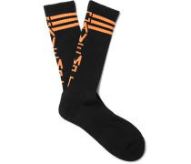 Logo-intarsia Stretch Cotton-blend Socks - Black