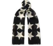 Fringed Star-print Wool-gauze Scarf - Black