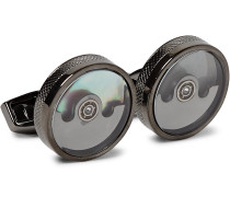 Pendulum Gunmetal-Plated Mother-of-Pearl Cufflinks