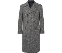 Slim-fit Double-breasted Herringbone Virgin Wool Coat - Gray