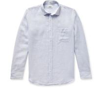 Slim-Fit Pinstriped Slub Linen Shirt