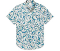 Slim-fit Button-down Collar Floral-print Slub Cotton Shirt