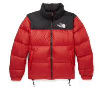 1996 Retro Nuptse Quilted Shell Hooded Down Jacket - Red