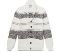 Shawl-Collar Striped Cotton Cardigan