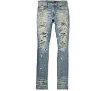 Crystal Thrasher Skinny-fit Embellished Painted Distressed Stretch-denim Jeans