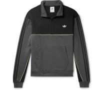 Colour-Block Logo-Embroidered Fleece-Back Half-Zip Sweatshirt