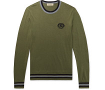 Slim-fit Logo-embroidered Cotton And Silk-blend Sweater - Army green