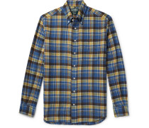 Button-down Collar Checked Brushed Cotton-flannel Shirt - Blue