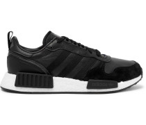 Rising Star X R1 Grosgrain-trimmed Leather And Suede Sneakers - Black
