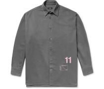 Oversized Printed Denim Shirt Jacket