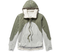 Distressed Panelled Canvas And Loopback Cotton-jersey Hoodie