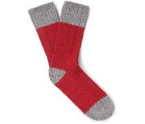Colour-block Mélange Stretch Cotton-blend Socks - Red