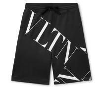 Logo-print Tech-jersey Drawstring Shorts - Black