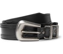 Black Embellished Appliquéd Leather Belt