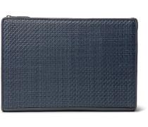 Pelle Tessuta Leather Pouch - Blue