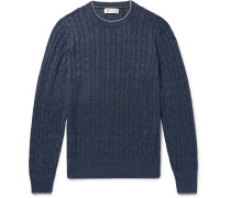 Slim-fit Contrast-tipped Cable-knit Linen And Cotton-blend Sweater