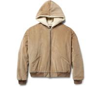 Oversized Faux Shearling-lined Cotton-corduroy Bomber Jacket
