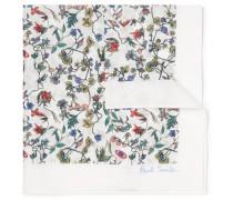 Floral-print Cotton-voile Pocket Square - White