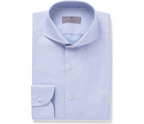 White Slim-fit Cutaway-collar Pin-dot Cotton-jacquard Shirt - Blue