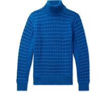 Textured Merino Wool Rollneck Sweater - Blue