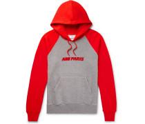 Logo-flocked Fleece-back Cotton-jersey Hoodie - Red