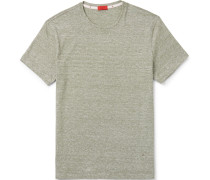 Slim-fit Space-dyed Cotton And Linen-blend T-shirt