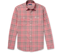 Checked Cotton-flannel Shirt - Pink