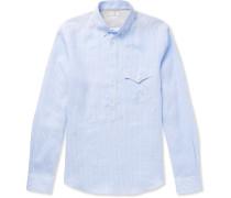 Button-down Collar Striped Linen Half-placket Shirt - Blue