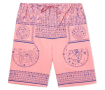 Nejlika Wide-leg Printed Cotton Shorts