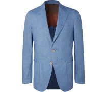 Light-blue Unstructured Linen-chambray Blazer - Blue