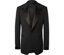 Black Shelton Slim-fit Satin-trimmed Wool Tuxedo Jacket