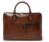 Un Jour Polished-leather Briefcase - Brown