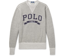 Logo-appliquéd Mélange Fleece-back Cotton-jersey Sweatshirt - Gray