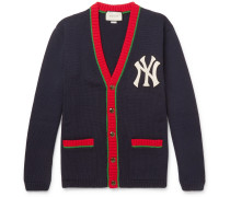 + New York Yankees Appliquéd Wool Cardigan - Navy