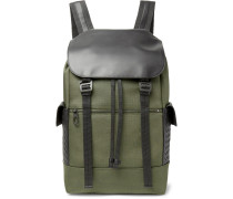 Sassolungo Nylon-canvas And Intrecciato Leather Backpack - Army green